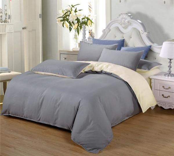 Double-Sided Duvet Sets-Silver Beige - MiKlah