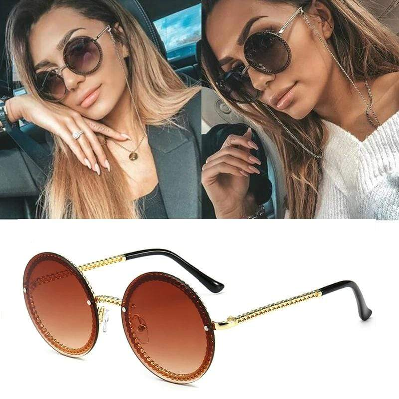 Trendy Round Chain Sunglasses - MiKlah