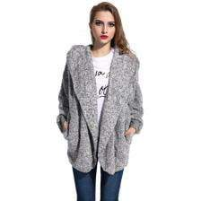 Oversized Fleece Warm Shrug With Hood - MiKlah