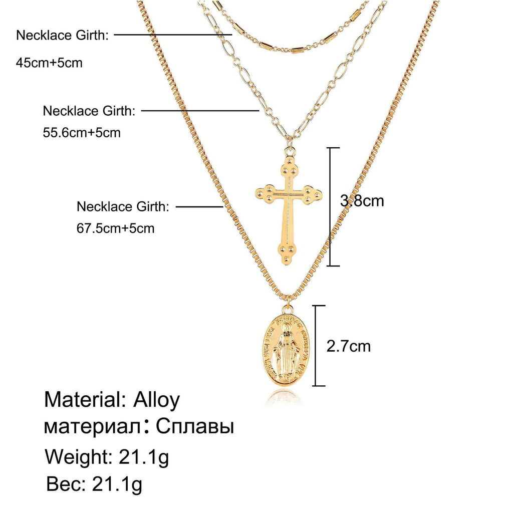 Vintage Virgin Mary Multilayer Chain - MiKlah