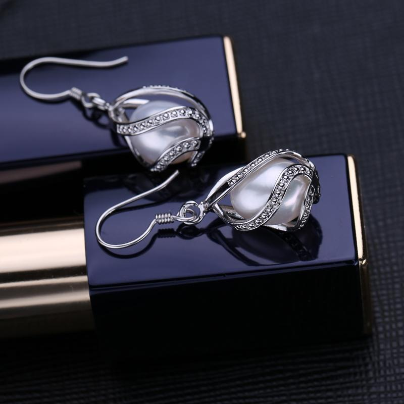 925 Sterling Silver  Pearl Drop Earrings - MiKlah
