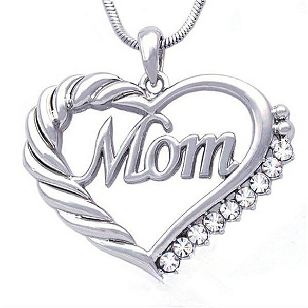 Hollow Heart-shaped Rhinestone Mom Necklace - MiKlah
