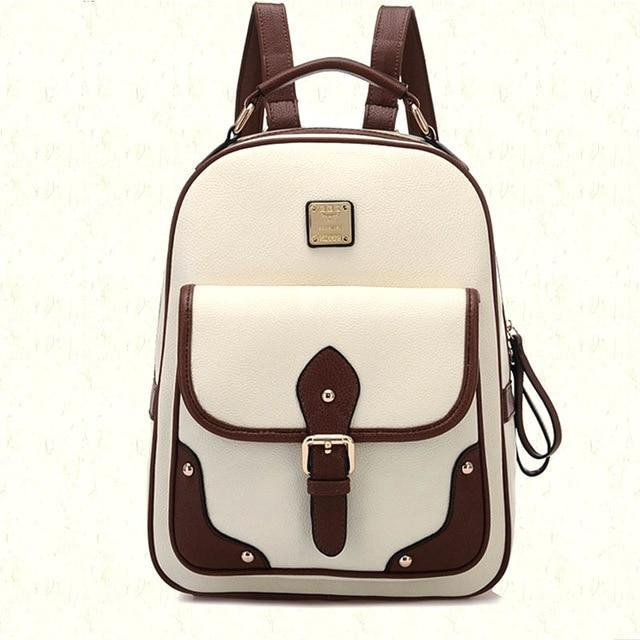 Patchwork PU Leather Backpack - MiKlah