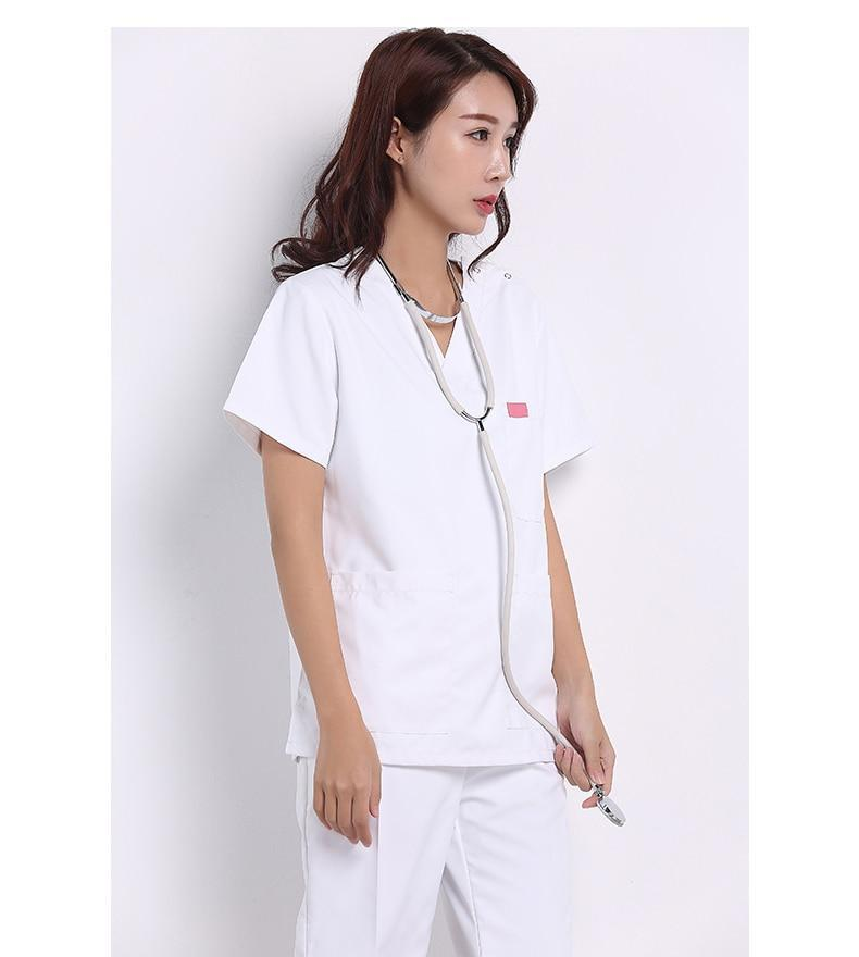 White Medical Professional Scrub Sets - MiKlah