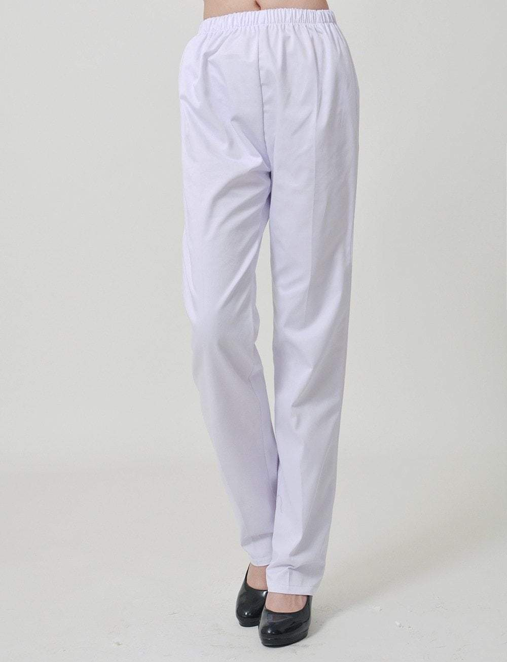 Nurse White Elastic Medical Pants - MiKlah