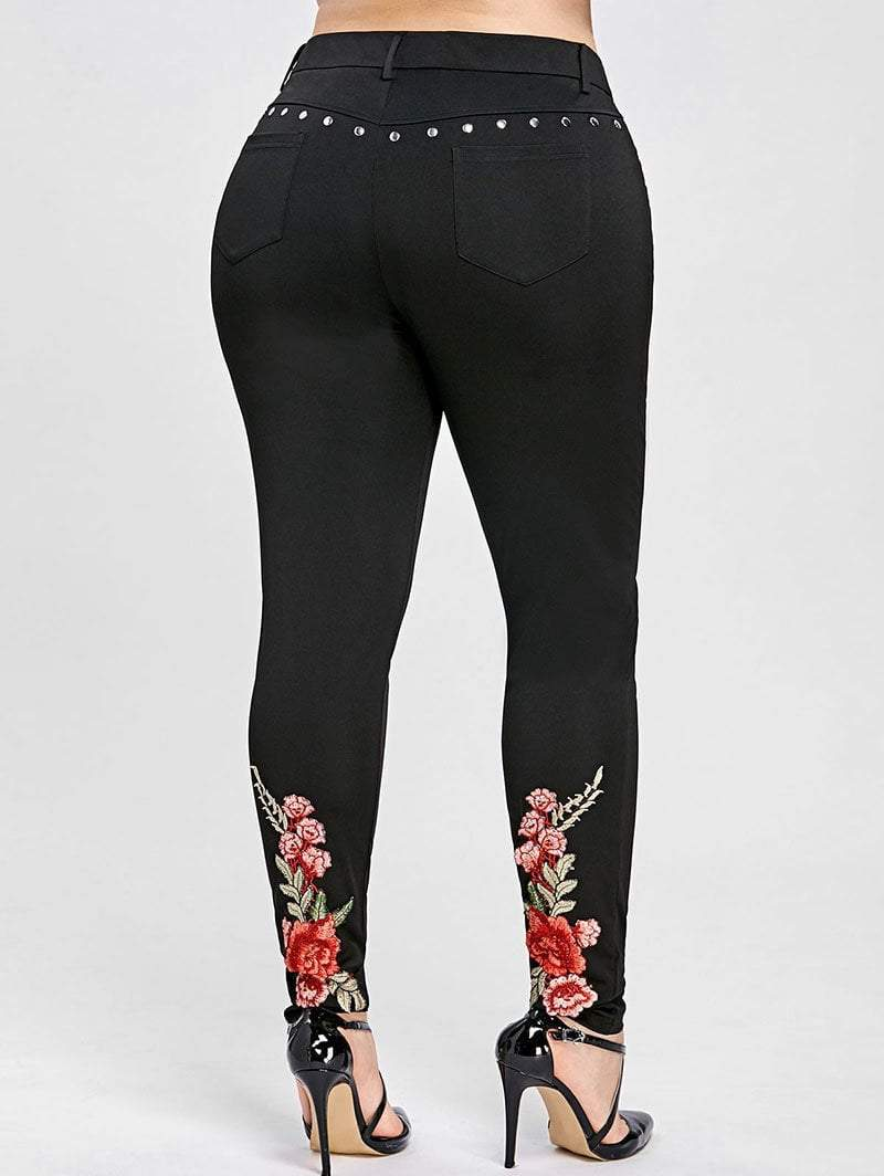 MIK Flower High Waist Rivet Sexy Skinny Pants - MiKlah