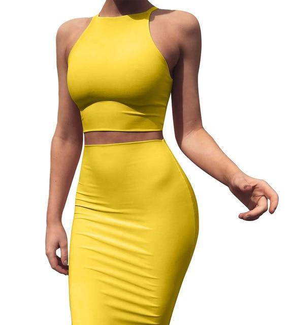 Crop Top and Skirt Two Pieces - MiKlah
