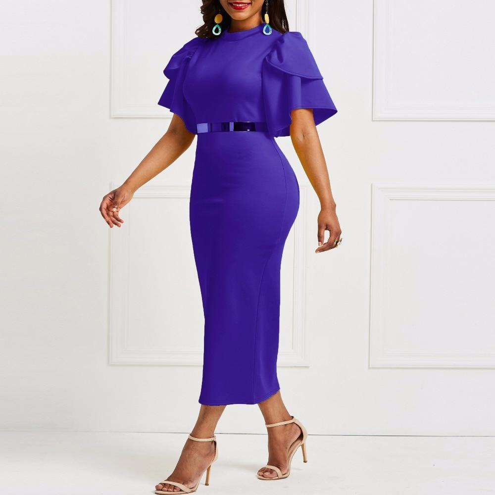 MIK Office Ruffle Sleeve Dress - MiKlah