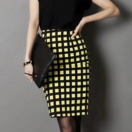 Plaid Knee length Pencil Skirts - MiKlah