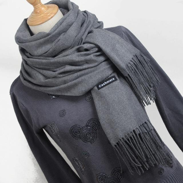 MIK Solid Tassel Thick Warm Scarf - MiKlah