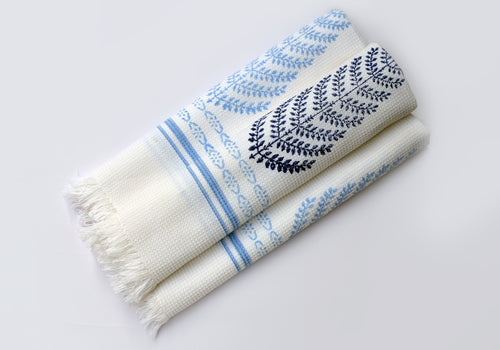RoomFab Cotton Waffle Bath Towels with Jaipuri Block Printing - Shades of Blue