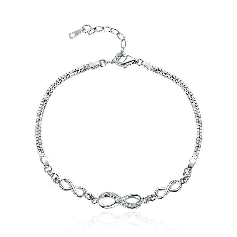 925 Sterling Silver Endless Love Infinity Chain Bracelet