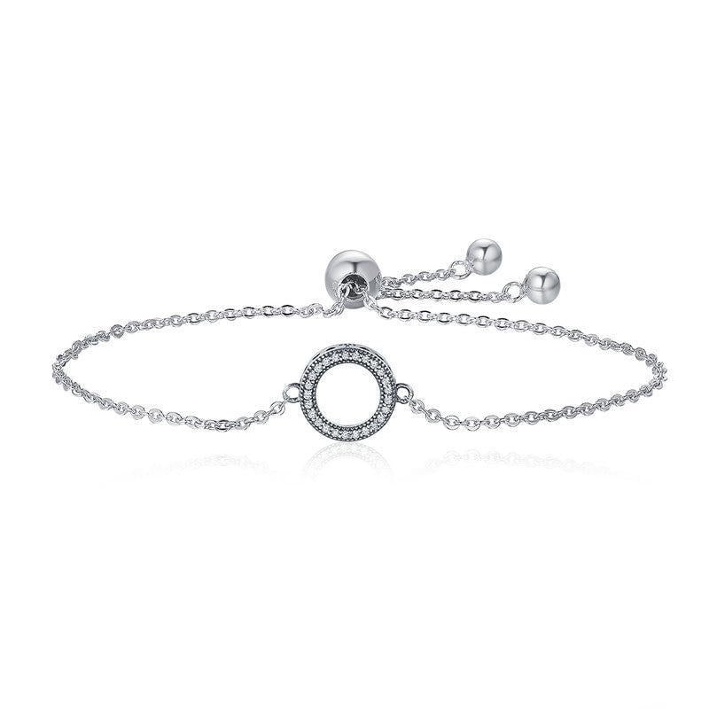 925 Sterling Silver Glittering Round Circle Chain Link Bracelet