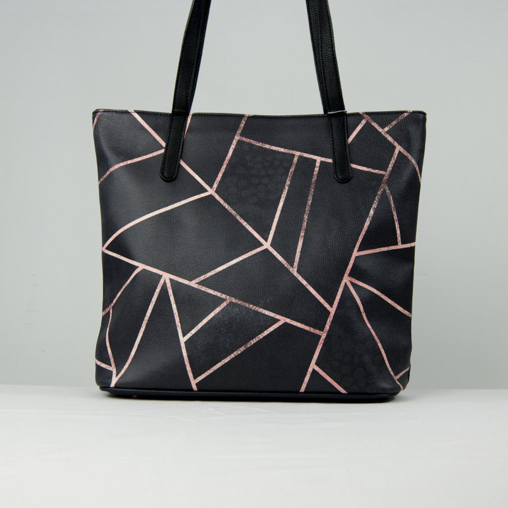 Black Geometric Vegan Leather Tote