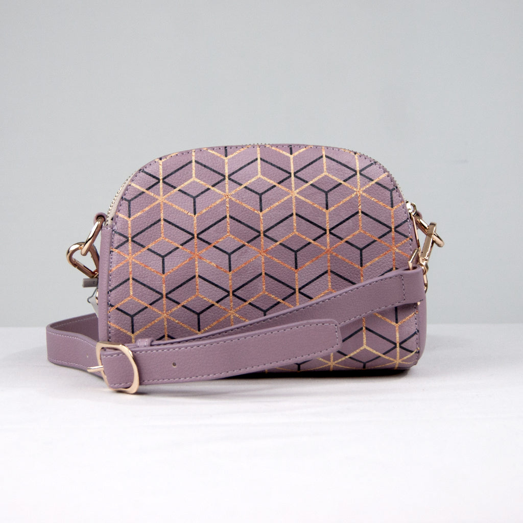 Vegan Geometric Print Crossbody Bag