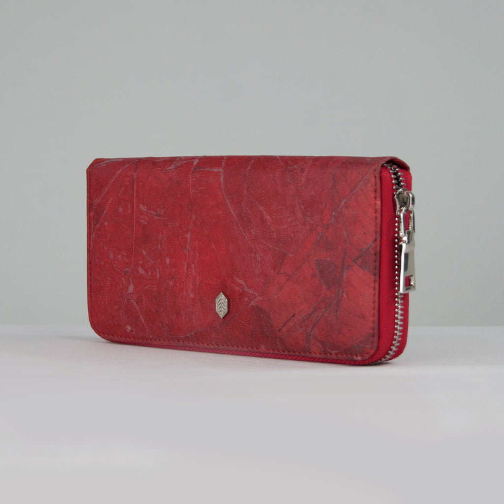 Red Tree Leaf Zip Purse