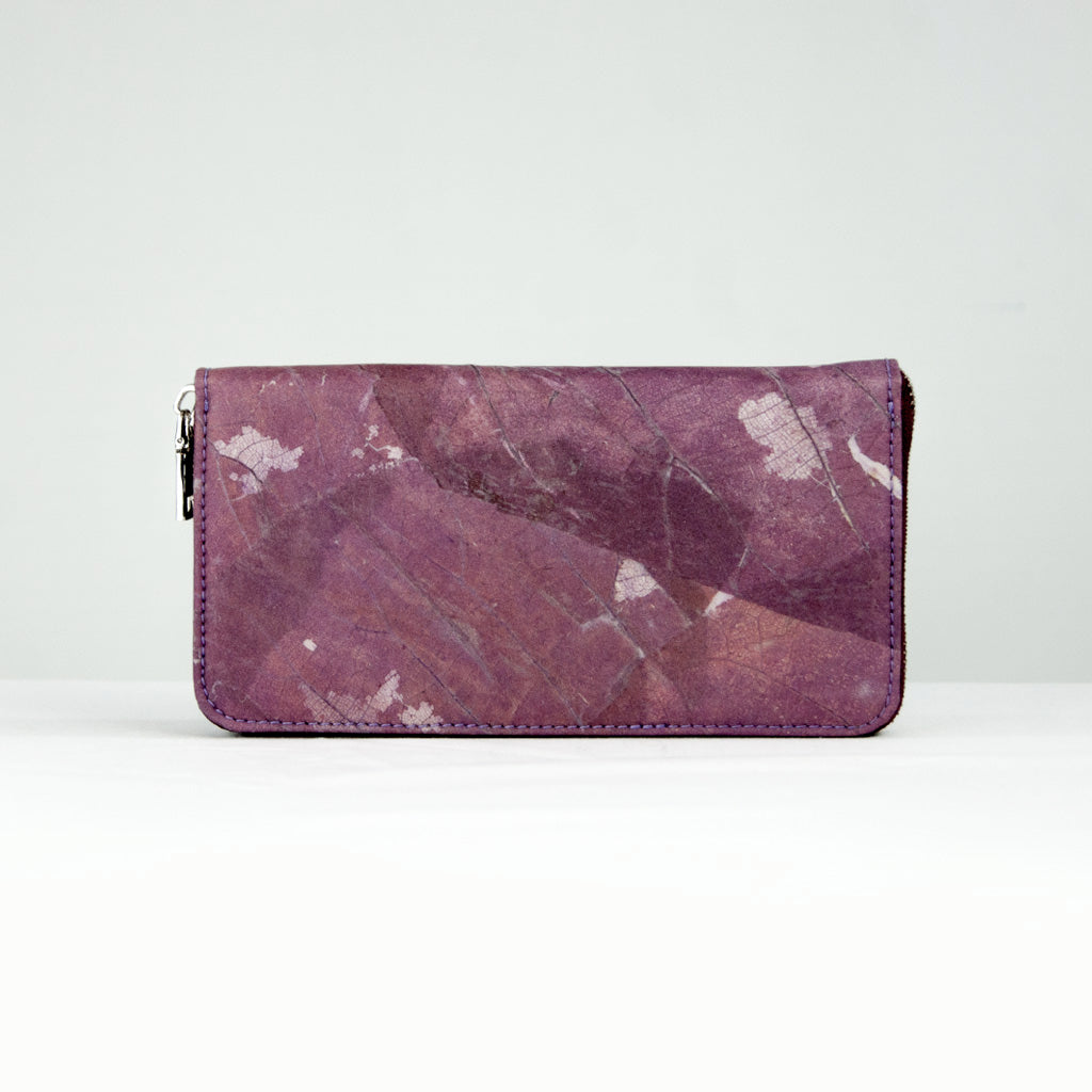 Purple Tree Leaf Zip Purse
