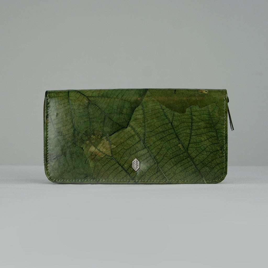 Green Tree Leaf Zip Purse