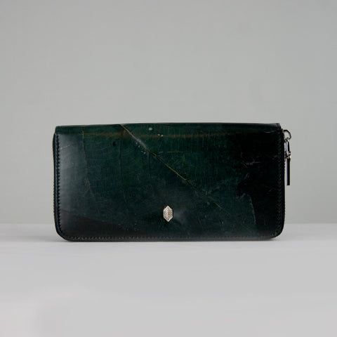 Black Tree Leaf Zip Purse