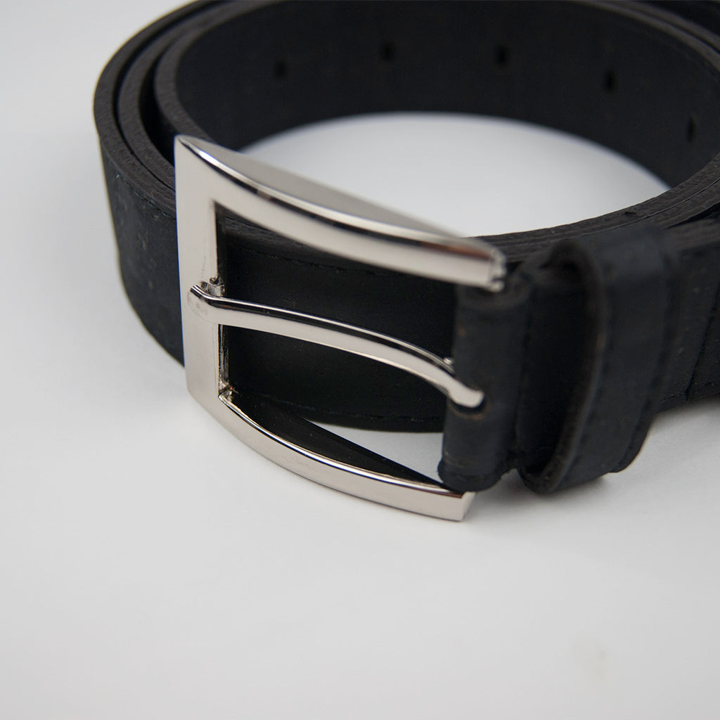 Black Cork Leather Belt