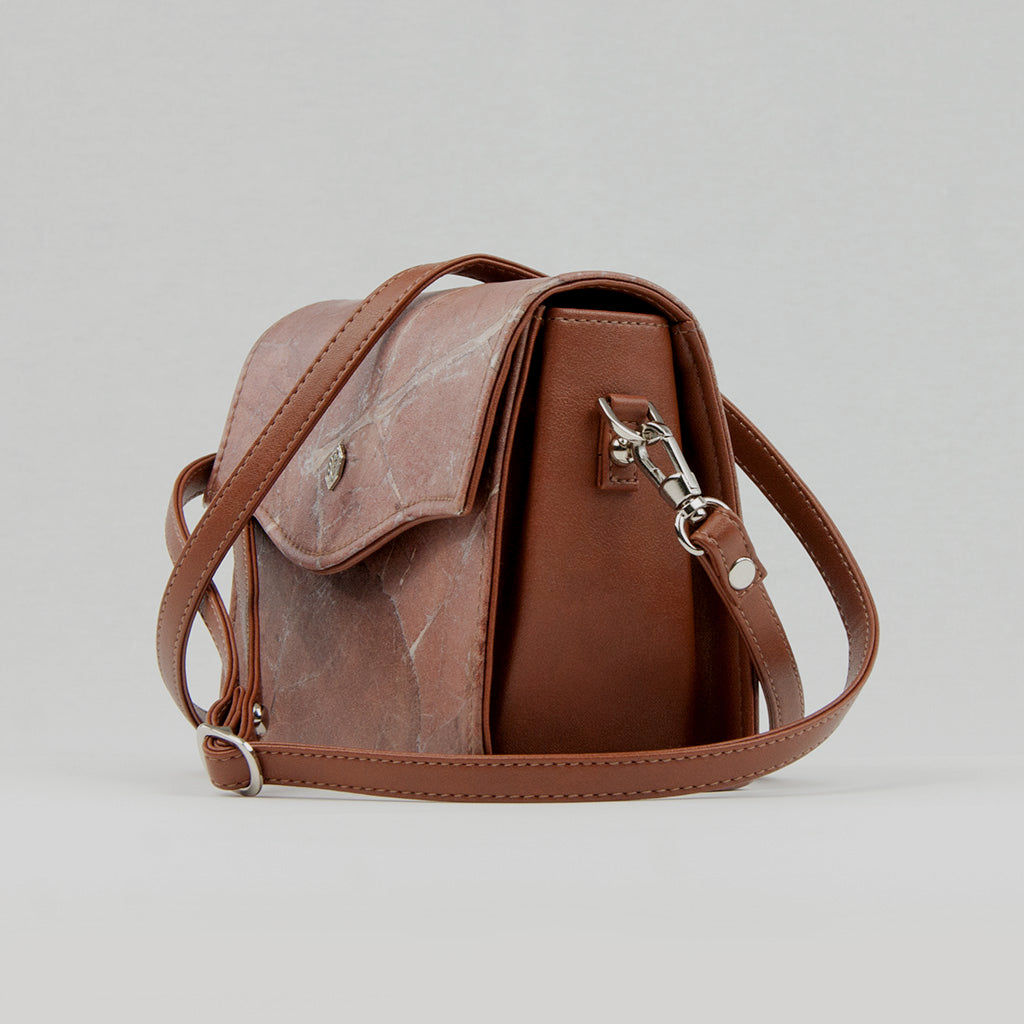 Brown Real Leaf Box Bag
