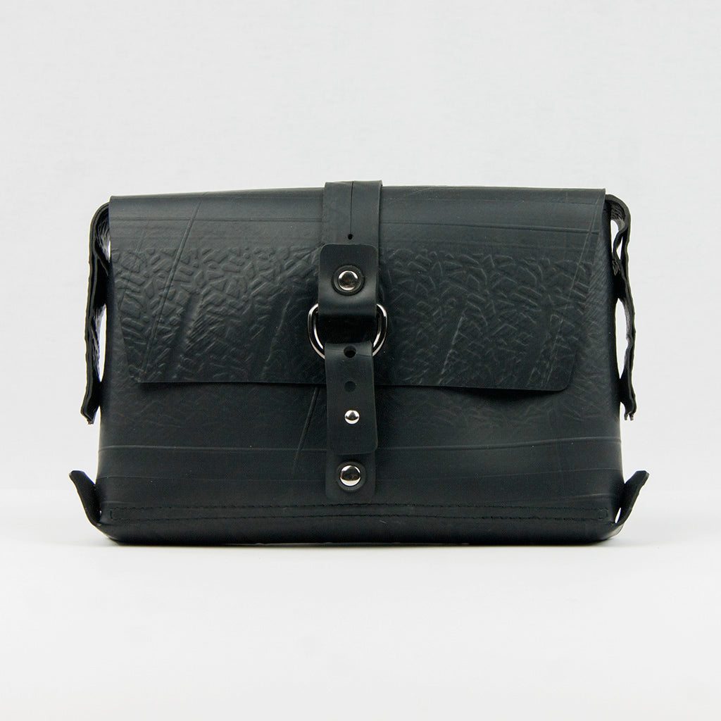 Recycled Rubber Black Vegan Handbag