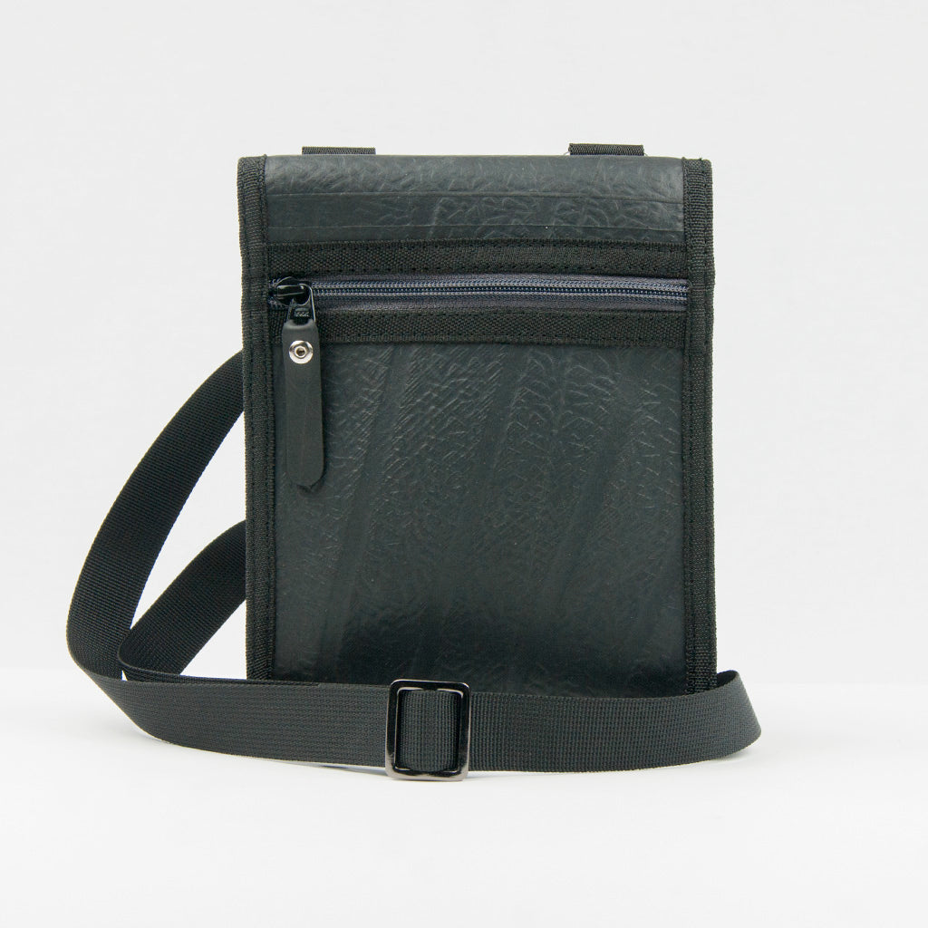 Recycled Inner Tube Mini Pouch Bag - Black/Grey