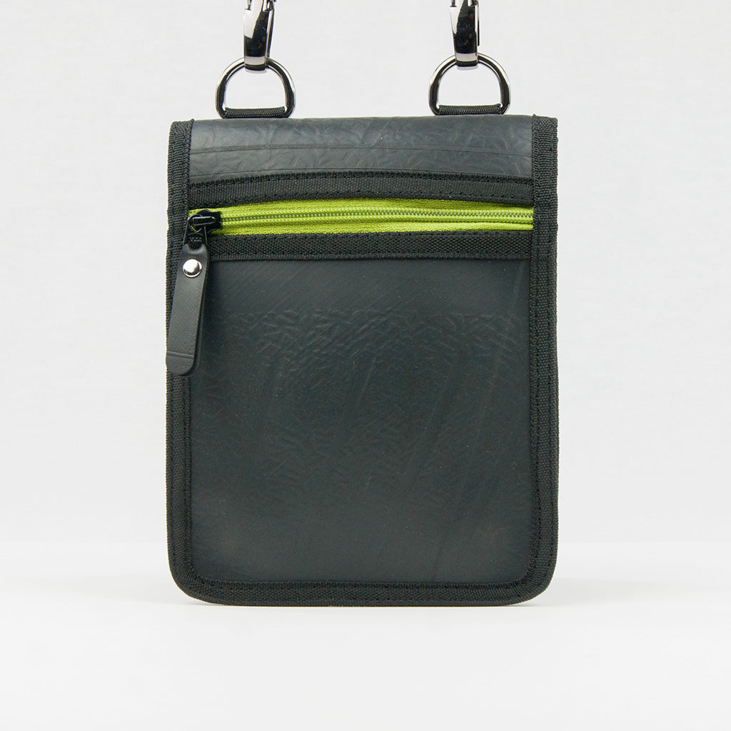 Recycled Inner Tube Pouch Bag - Black and Green