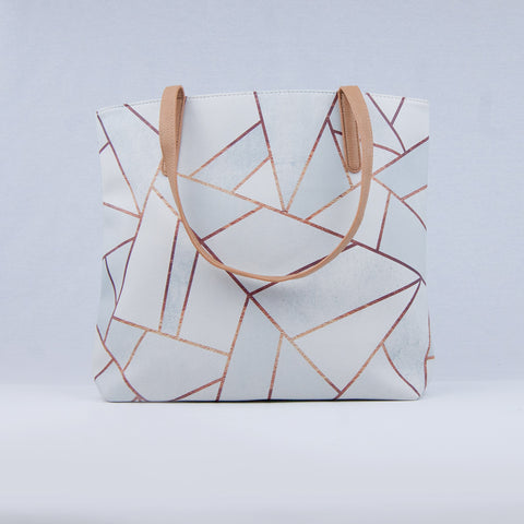 White / Copper Geometric Tote