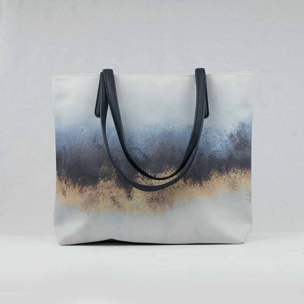 Abstract Sky Vegan Leather Tote Bag
