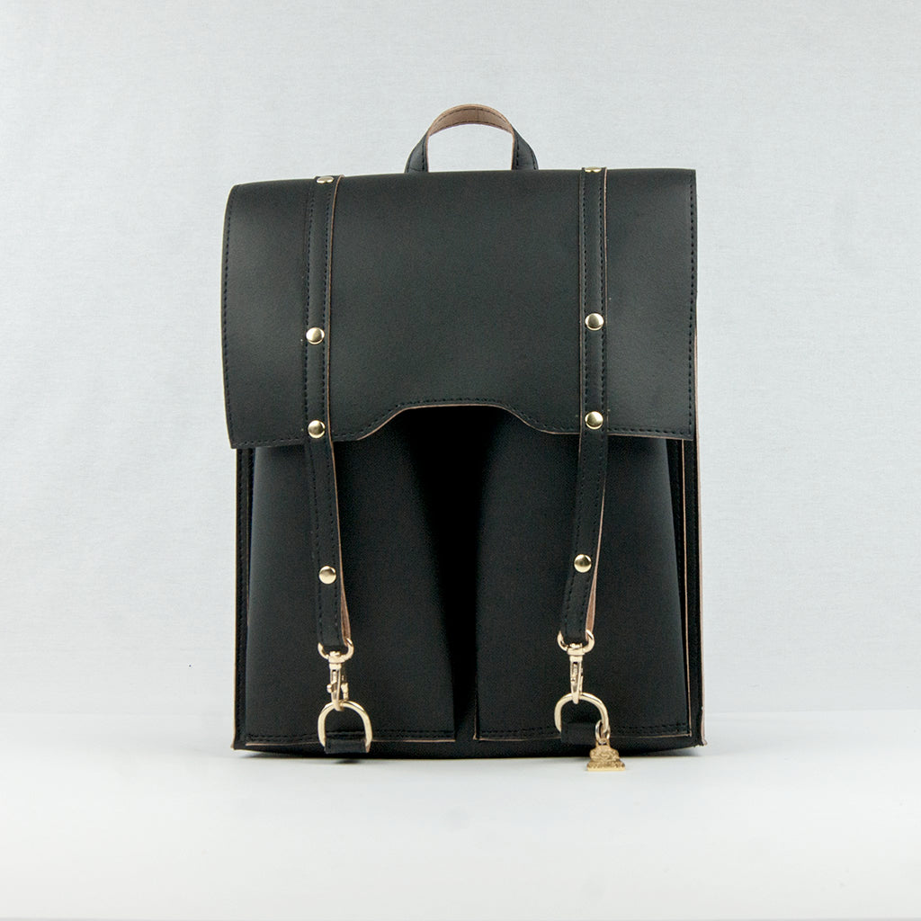 Black Cork Leather Backpack