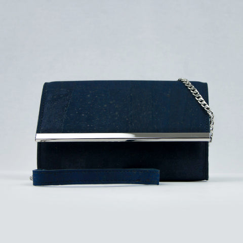 Navy Cork Clutch Bag