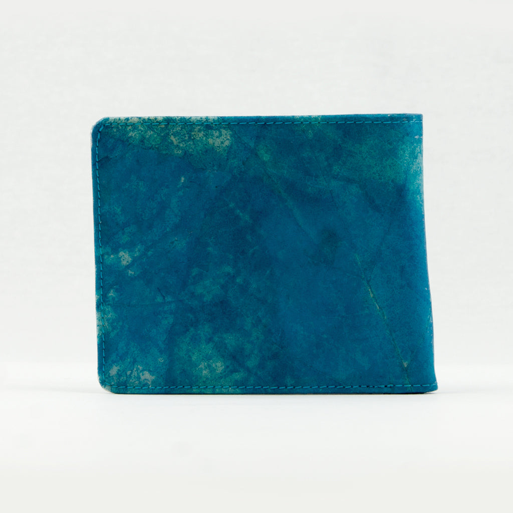 Tree Leaf Vegan Wallet - Blue/Turquoise
