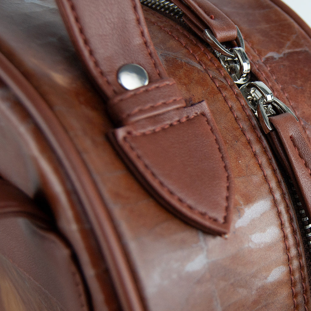 Brown Leaf Leather Backpack