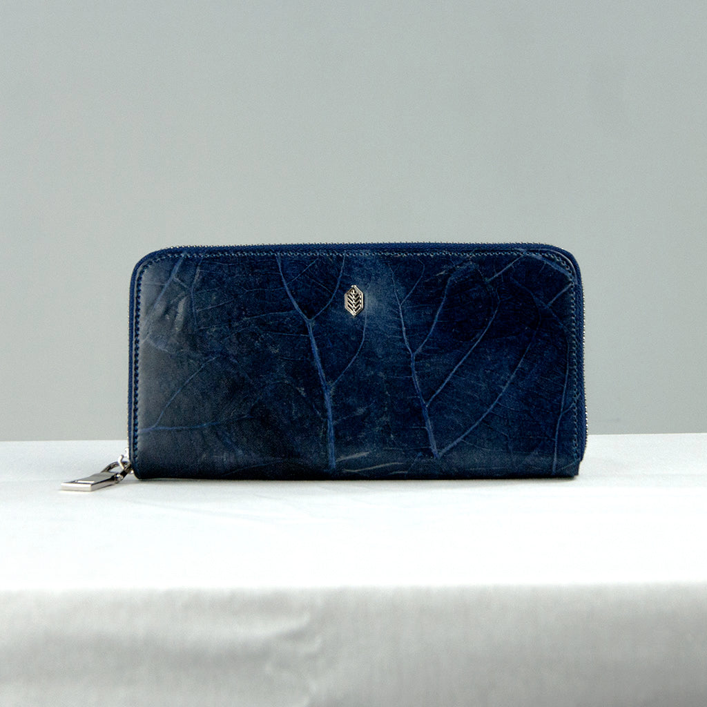 Navy Tree Leaf Zip Purse