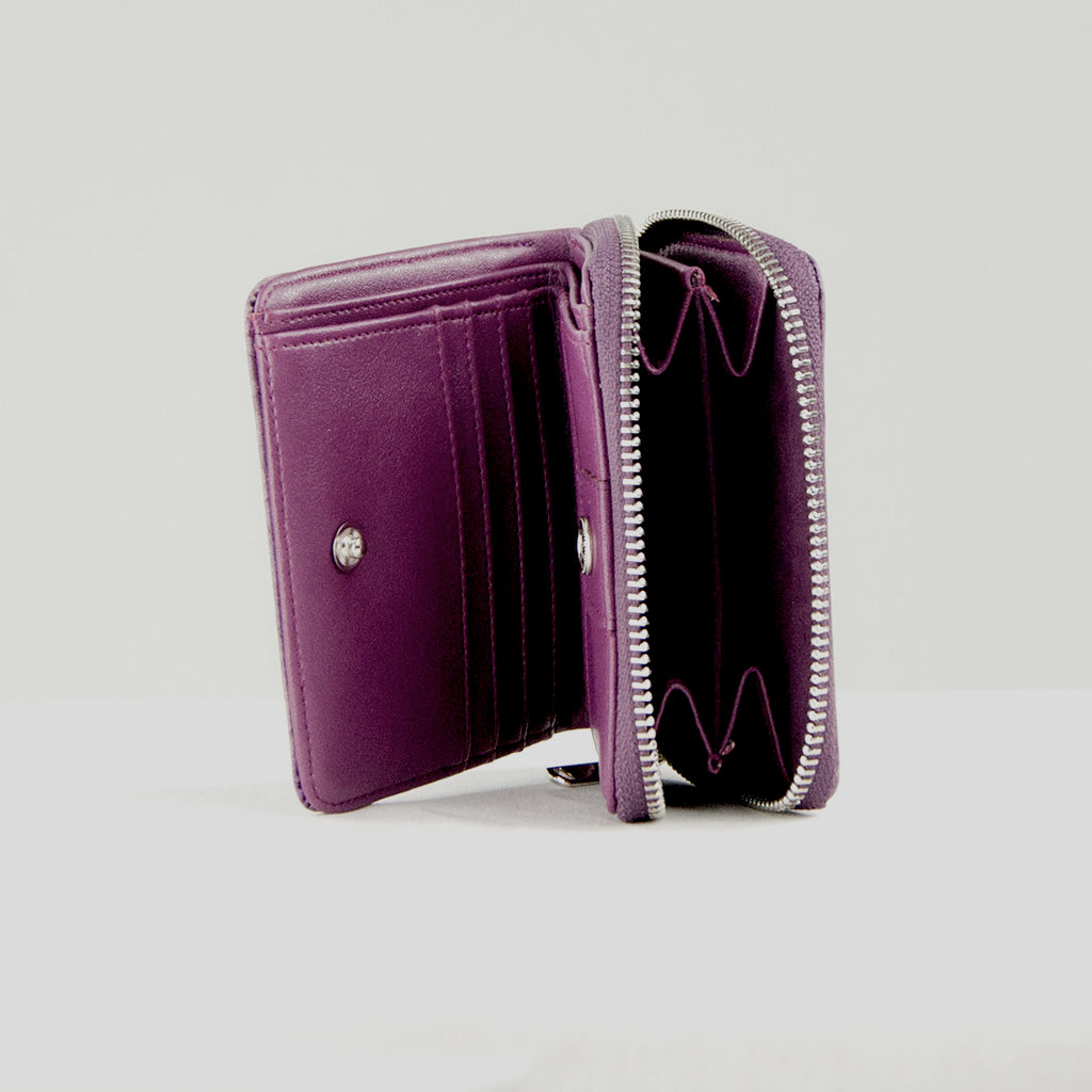Real Leaf Zip Wallet - Purple