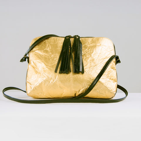 Gold Piñatex® Crossbody Clutch