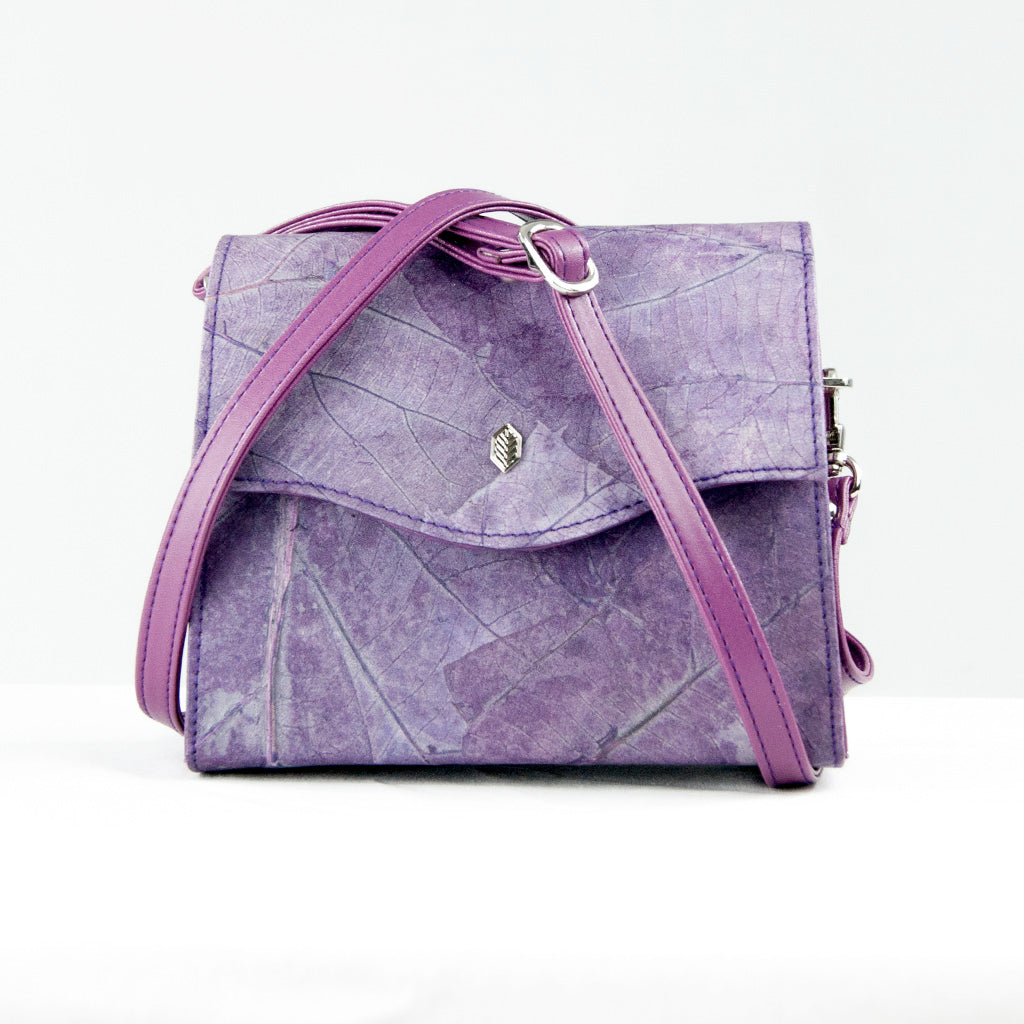 Purple Real Leaf Box Bag