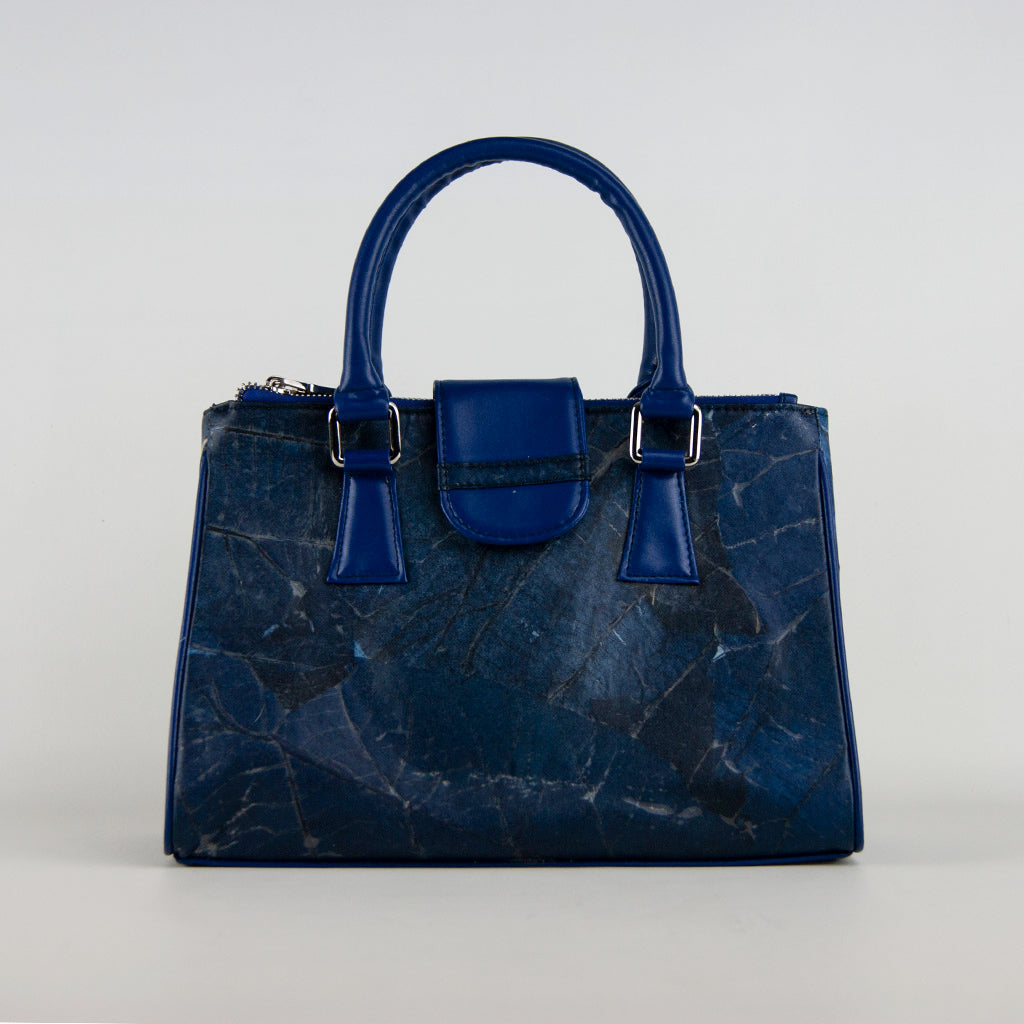 Blue Leaf Leather Handbag