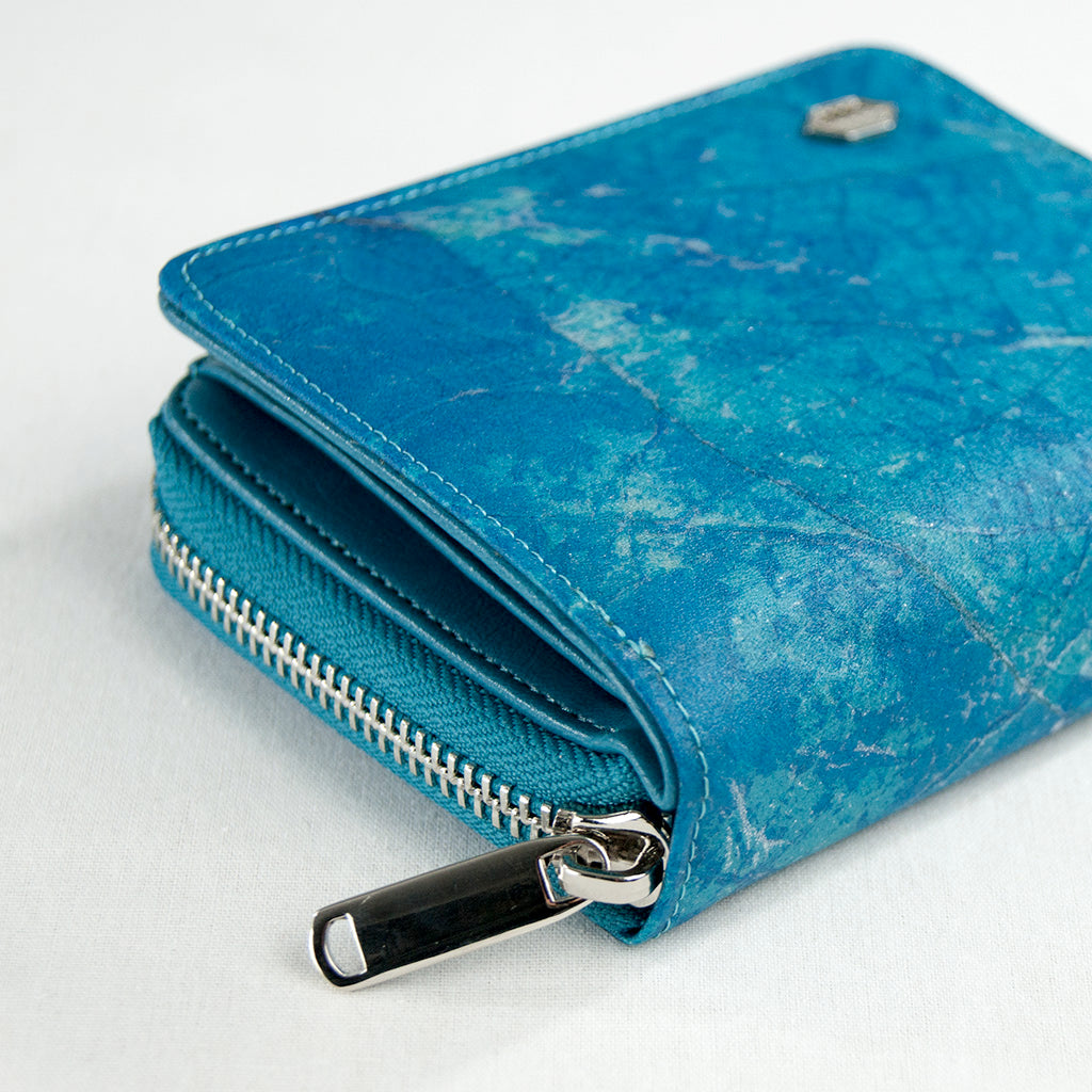 Real Leaf Zip Wallet - Turquoise