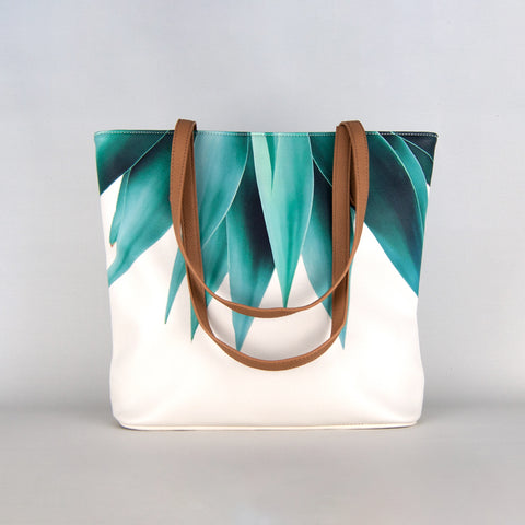 Agave Print Vegan Leather Tote Bag