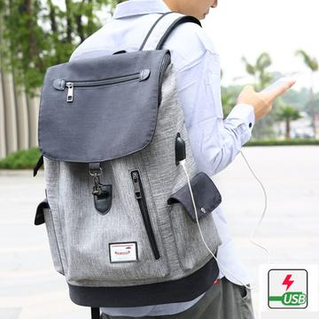 Gentlemen Bag Bi Color Series: Anti-theft Backpack with USB Charging Port