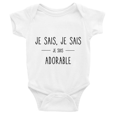 Body Je Sais, Je Sais, Je Suis Adorable Body Bébé Blanc / 6M - Parents Sereins