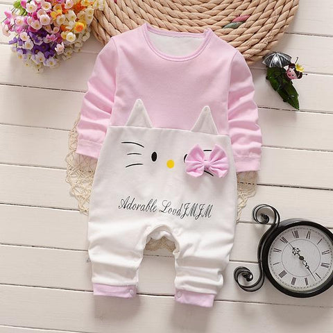 Combinaison Pyjama À Motifs en Coton - Kitty Rose Pyjama - Combinaison - Vêtements Enfants Rose Kitty / 3M - Parents Sereins