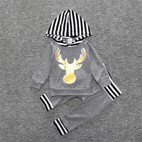 Ensemble 2 Pièces Cerf Gris - Sweat à Capuche & Pantalon Ensemble - Vêtements Enfant Bébé 18M - Parents Sereins