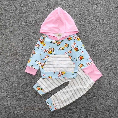 Ensemble 2 Pièces Floral Rose & Bleu - Sweat à Capuche & Pantalon Ensemble - Vêtements Enfant Bébé 18M - Parents Sereins