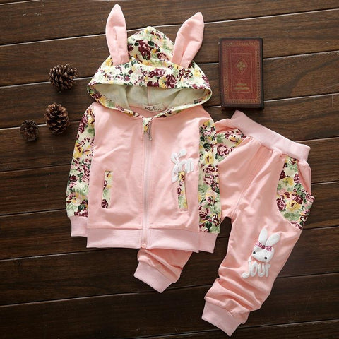 Ensemble 2 Pièces - Sweat à Capuche Lapin & Pantalon Ensemble - Vêtements Enfant Bébé Rose pâle / 6M - Parents Sereins