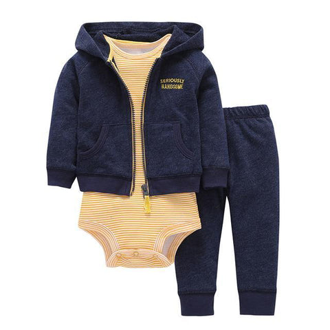 Ensemble 3 Pièces - Sweat à Capuche Bleu Pantalon Bleu & Body Jaune Rayé Ensemble - Vêtements Enfant Bébé 9M - Parents Sereins