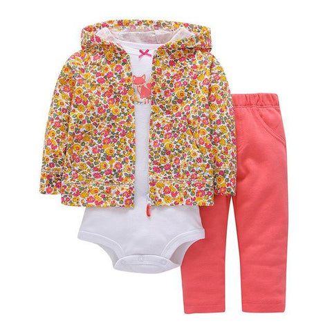 Ensemble 3 Pièces - Sweat à Capuche Floral, Pantalon Rose & Body Blanc Ensemble - Vêtements Enfant Bébé 9M - Parents Sereins