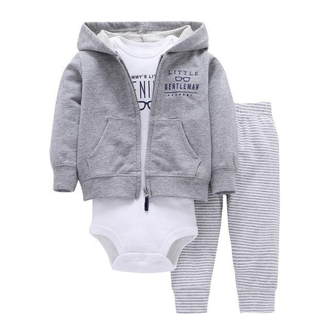 Ensemble 3 Pièces - Sweat à Capuche Gris Pantalon Gris Rayé & Body Blanc Ensemble - Vêtements Enfant Bébé 9M - Parents Sereins